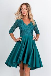 Niebieska sukienka ZOiO.pl mini rozkloszowana z dekoltem w kształcie litery v