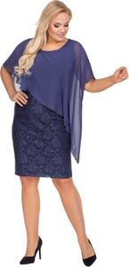 Sukienka Ptakmoda.com z krótkim rękawem z tkaniny dopasowana