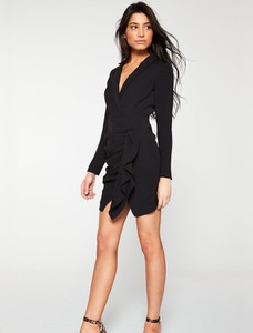 Czarna sukienka V by Very asymetryczna z długim rękawem