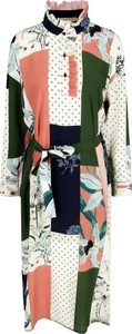 Sukienka Tory Burch midi z jedwabiu z długim rękawem