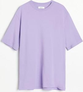 Fioletowy t-shirt Reserved z krótkim rękawem w stylu casual z bawełny