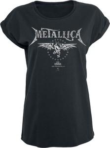 Granatowy t-shirt Metallica z bawełny z krótkim rękawem