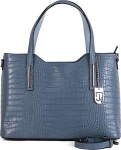Niebieska torebka Lucca Baldi na ramię w wakacyjnym stylu ze skóry