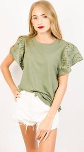 Zielona bluzka Olika z bawełny z krótkim rękawem
