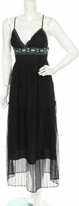 Czarna sukienka Trussardi Jeans maxi z dekoltem w kształcie litery v