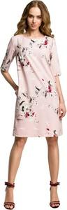 Różowa sukienka MOE z długim rękawem mini