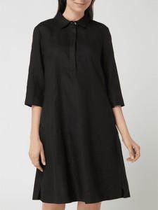 Czarna sukienka Christian Berg koszulowa z kołnierzykiem z lnu
