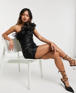Czarna sukienka Forever U mini asymetryczna