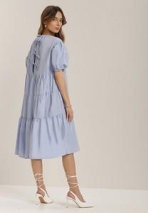 Niebieska sukienka Renee z krótkim rękawem midi