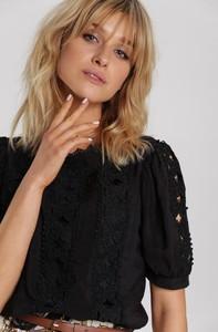 Czarna bluzka Renee z okrągłym dekoltem