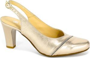 Złote sandały Grodecki na obcasie