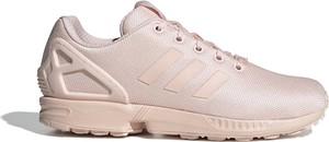 Różowe buty sportowe Adidas z płaską podeszwą sznurowane