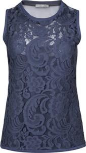 Niebieska bluzka Manifiq&Co. z tkaniny z okrągłym dekoltem