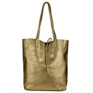 Złota torebka Borse in Pelle duża w wakacyjnym stylu ze skóry