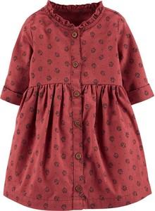 Czerwona sukienka dziewczęca OshKosh w kwiatki z bawełny