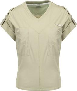 Zielona bluzka Aeronautica Militare z krótkim rękawem z bawełny z dekoltem w kształcie litery v