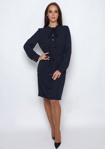 Czarna sukienka SERERRA BUTIK midi z tkaniny z długim rękawem