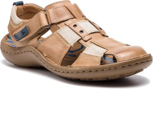 d025fe97a38c2 Brązowe buty letnie męskie Krisbut na rzepy