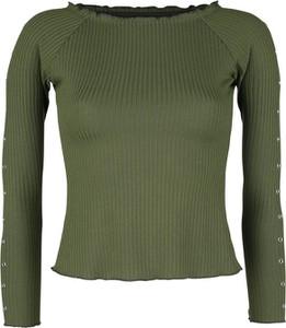 Zielona bluzka Emp w stylu casual z okrągłym dekoltem z długim rękawem