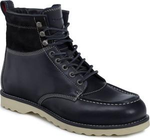 Buty zimowe Tommy Hilfiger ze skóry w stylu casual sznurowane