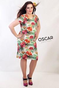 Sukienka Oscar Fashion w stylu casual midi z okrągłym dekoltem