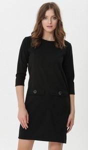 Czarna sukienka born2be z okrągłym dekoltem w stylu casual z dzianiny