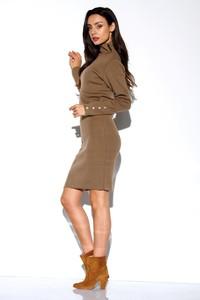 Brązowa sukienka Lemoniade z golfem z długim rękawem w stylu casual