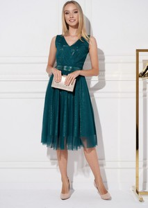 Zielona sukienka Ella Boutique na ramiączkach midi