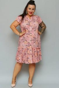 Sukienka KARKO szmizjerka z krótkim rękawem midi
