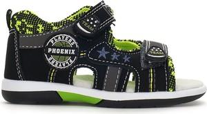 Czarne buty dziecięce letnie American Club dla chłopców na rzepy