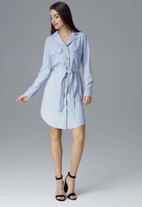 Niebieska sukienka Figl z długim rękawem mini