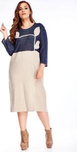 Sukienka N/A z okrągłym dekoltem w stylu casual midi