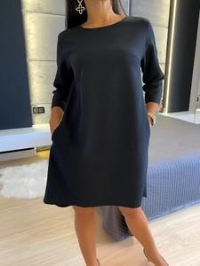 Czarna sukienka ModnaKiecka.pl z długim rękawem mini