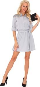 Sukienka MERRIBEL z kołnierzykiem midi z długim rękawem
