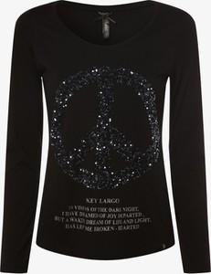 Czarna bluzka Key Largo z długim rękawem z nadrukiem z okrągłym dekoltem