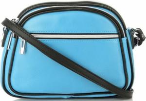 Niebieska torebka GENUINE LEATHER średnia przez ramię