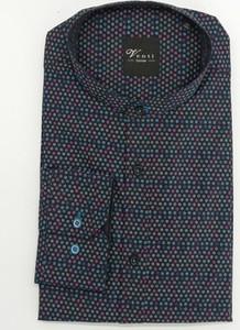 Granatowa koszula sempre z bawełny w młodzieżowym stylu z długim rękawem