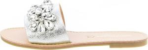Klapki Prima Moda ze skóry z płaską podeszwą