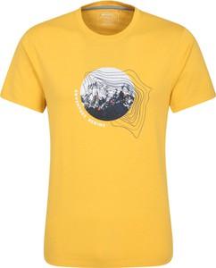 Żółty t-shirt Mountain Warehouse z nadrukiem z krótkim rękawem w młodzieżowym stylu