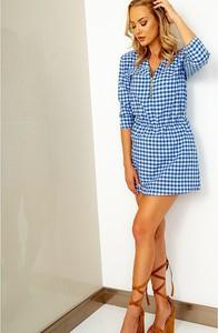 Niebieska sukienka ZOiO.pl z kołnierzykiem mini koszulowa