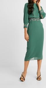 Zielona sukienka Inna z długim rękawem ołówkowa