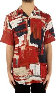 Czerwona koszula Only & Sons z klasycznym kołnierzykiem z nadrukiem w młodzieżowym stylu