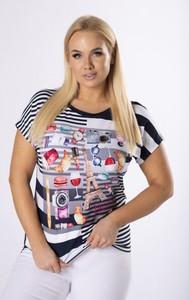 T-shirt Ptak Moda z okrągłym dekoltem z krótkim rękawem