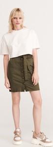 Zielona spódnica Reserved mini w militarnym stylu