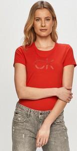 T-shirt Calvin Klein z krótkim rękawem z okrągłym dekoltem z dzianiny