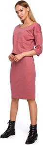 Sukienka MOE z długim rękawem z bawełny midi
