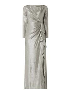 Srebrna sukienka Ralph Lauren z dekoltem w kształcie litery v maxi z długim rękawem