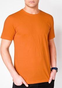 Pomarańczowy t-shirt Edoti z krótkim rękawem