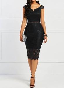 Czarna sukienka Sandbella z krótkim rękawem midi ołówkowa