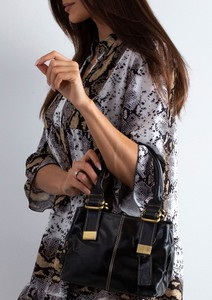 Czarna torebka Sheandher.pl w stylu glamour ze skóry matowa